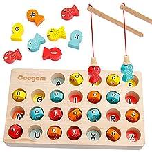Coogam Hölzern Magnetisch Angelspiel, Feinmotorikspielzeug ABC-Alphabet-Farbsortierpuzzle, Montessori-Buchstaben-Erkennungs-Vorschulgeschenk Frühes Lernen mit 2 Polen
