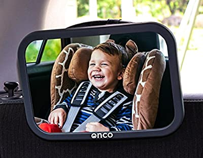 Onco Baby Car Mirror 100% Shatterproof, Fully Adjustable, Anti-Wobble Fixing Straps, Quick Install.