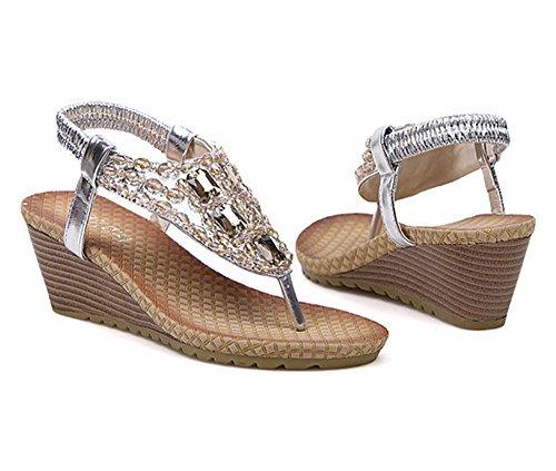 Dayiss Damen Strass Sandalen Wedge Keilabsatz Sandaletten Strandschuhe Sommerschuhe Silber