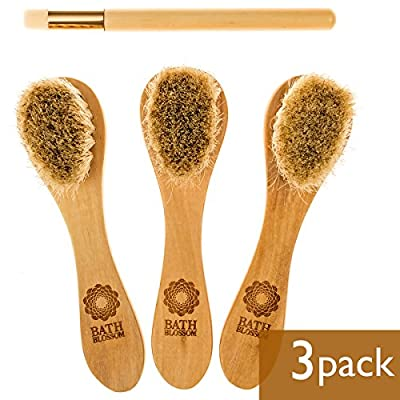 Bath Blossom Face Cleansing Brush For Facial Exfoliator - Skin Cleaning Scrubber - Natural Bristles Facial Brush For Dry Brushing - Suitable For Men And Women