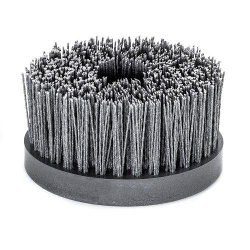 Tellerbürste mit Kunststoffkörper PP | Durchmesser: 130 mm, 4 Reihen, Gewellt, 1,2 mm dick | Aufnahme: M14, Körnung: SIC 80, Fadenstärke 1,2 mm