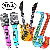 Yojoloin Super Giant 6PCS Jumbo Inflatables Guitarra Saxofón Micrófono Instrumentos Musicales Accesorios para Fiesta Suministros favores de Fiesta Globos Color Aleatorio (6 PCS)