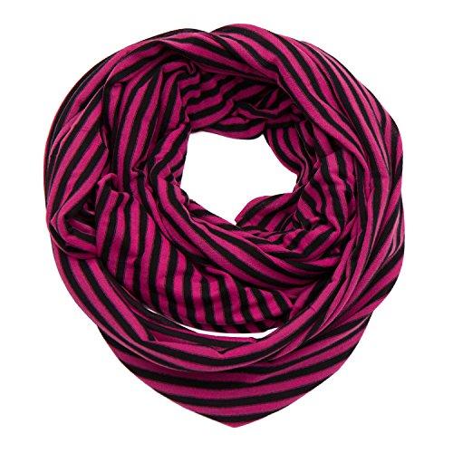 Huan Xun rayures dévoré Écharpe longue en mousseline de soie pour femme ou homme Rose - C Hot Pink and Black