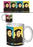 Set: Martin Luther, Solus Christus, Sola Gratia, Sola Fide, Sola Scriptura Foto-Tasse Kaffeetasse (9x8 cm) Inklusive 1x 1art1® Überraschungs-Sticker