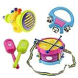 Lecimo 5 Unids Colorido Mini Instrumento Musical Batería Set Percusión Juguete Bebé Divertido y Feliz Iluminación Juguetes Educativos