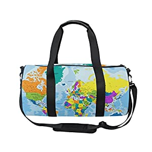 jstel altamente detallado mapa del mundo bolsa de deporte gimnasio para hombres y mujeres bolsa de viaje de viaje