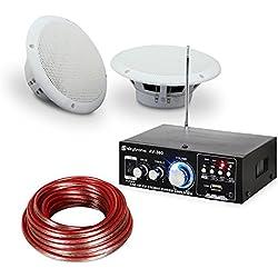Set chaîne hifi pour terrasses et salles de bain • amplificateur hifi • 2 haut-parleurs stéréo résistant à l'humidité avec 35 W chacun • câble 2 x 10 m • étanche selon IP44 • blanc