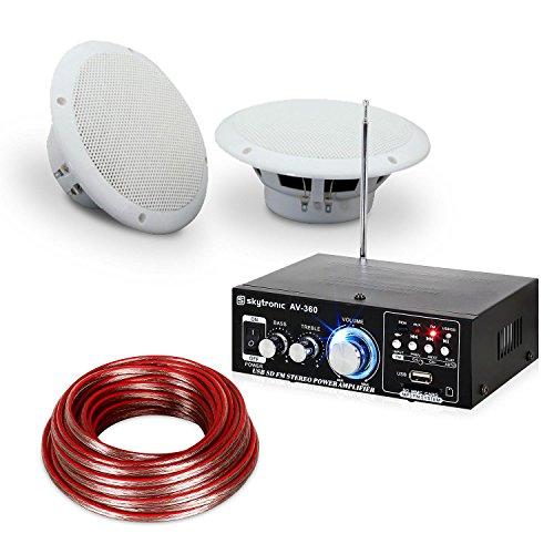 Terrassen & Badezimmer Hifi Speaker Sound Set • Hifi-Verstärker • 2 x feuchtigkeitsbeständige 2-Wege-Lautsprecher mit je 35 W • 2 x 10 m Lautsprecherkabel • spritzwassergeschützt nach IP44 • weiß