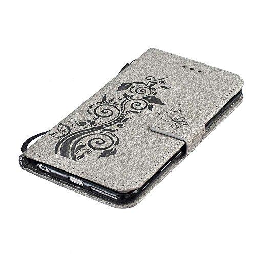 Rabat Style Portefeuille iPhone 6S Coque ( Gris ) Anti Choc, Housse Etui Apple iPhone 6 / 6S 4.7 pouce Carte Titulaire PU Cuir Poids léger Case, Élégant Floral Fleur Embossage Motif Gris