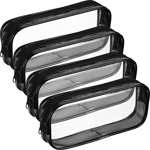 4 Piezas de Bolsa de Lápices con Cremallera de PVC Transparente, Bolsa de Bolígrafos de Capacidad Grande Bolsa de Maquillaje (Negro)
