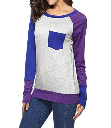 Onlyoustyle Donna Autunno Camicie Maglione Bluse T-shirt con Tasca Girocollo Maglie a Manica Lunga Pullover Felpa Casual Maglietta Top Blusa Blu scuro