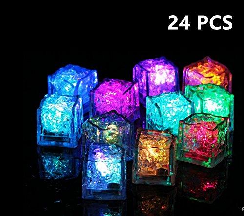 24cubitos de hielo con luces led multicolor que parpadean. Para bare