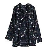 NEEKY Damenmode Langarm Button Down Shirt - Frauen Casual Blätter Floral Druck Asymmetrische Tops Bluse(EU:44/CN:L, Dunkelblau)