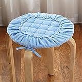 CCYYJJ Winter Dicke Sitzkissen, Runder Weicher Stuhl Pad Büro Runder Hocker Mat Stuhl Kissen Runde Hocker Rutschfeste Polster - Blau Durchmesser 35 cm (14 Zoll)