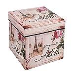 Amazinggirl Sitzhocker mit Stauraum 30x30x30 cm Faltbarer und Moderne Eiffelturm Motiv Falthocker als Aufbewahrungsbox Sitzwürfel und Deckel