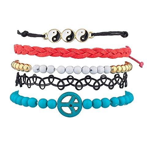 Lux Accessoires Yin Yang Peace tissé perles Sticker Panneau Bras de Candy Ensemble bracelet
