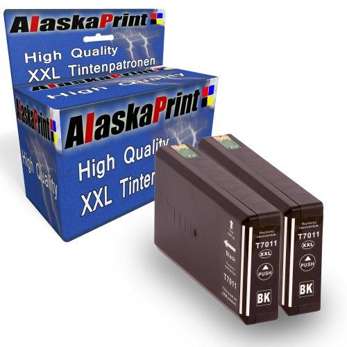 Preisvergleich Produktbild 2x Druckerpatrone Kompatibel für Epson T7021 T7011 T7031 XL BK Schwarz Black für Epson WorkForce PRO WP4015 WP4025 WP4095 WP4515 WP4525 WP4535 WP4545 WP4595 WP 4015 WP 4025 WP 4095 WP 4515 WP 4525 WP 4535 WP 4545 WP 4595 Epson Workforce Pro WP-4000 WP-4015DN WP-4095DN WP-4500 WP-4515DN WP-4525DNF WP-4595DNF WP-4025DW WP-4535DWF WP-4545DTWF mit Chip 1xT7011BK