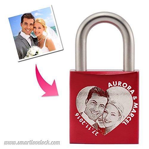 Liebesschloss mit FOTO-Gravur  ROSTFREI  ABUS 72LL/40 Hochwertig  Ideales Geschenk