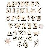 SIMUER Lettere Maiuscole in Legno, Alfabeto Numeri in Legno,Simbolo in Legno, Confezione da 60 Pezzi