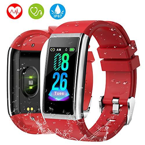 HOLALEI Pulsera Actividad Inteligente, Pulsera Inteligente con Medición de Presión Arterial y Monitor Ritmo Cardíaco, Pantalla a Color LCD HD de 1.14 Inch Reloj Inteligente para iOS y Android
