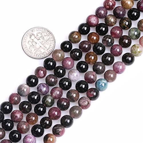 Shgbeads Naturel rond 6mm Multicolore Tourmaline Pierre précieuse Courroie Perles pour fabrication de bijoux 38,1cm, 6MM Multicolor, 6MM