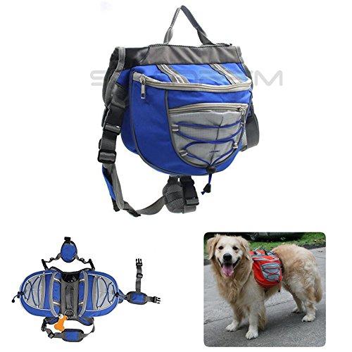 Imagen de inpay  perro respirable ajustable   alforja para senderismo, ejercicio, camping , viaje , trekking , ir de compras  fácil de adaptar alforja bolsa trébol con pequeño , mediamo , grande perro azul, s