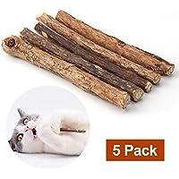 5x Katzenminze Sticks-Zahnpflege Kausticks aus echtem Matatabi Holz helfen spielerisch bei Mundgeruch & Zahnstein - Katzenspielzeug mit Katzenminze im 5er Set