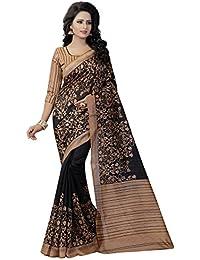 Calendar Women's Bhagalpuri Silk Saree With Blouse Piece (Cs1375_S Saree_Black)
