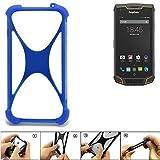 K-S-Trade Handyhülle für Ruggear RG740 Silikon Schutz Hülle Cover Case Bumper Silikoncase TPU Softcase Schutzhülle Smartphone Stoßschutz, blau (1x)