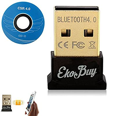 EkoBuy® Bluetooth 4.0 USB Dongle Adapter for PC with Gold Plated USB, Bluetooth Transmitter and Receiver For Windows 10 / 8.1 / 8 / 7 / Vista - Plug and Play on Windows 10