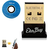 EkoBuy® Bluetooth 4.0 USB Dongle Adapter for PC with Gold Plated USB, Bluetooth Transmitter and Receiver For Windows 10/8.1/8/7/Vista - Plug and Play on Windows 10