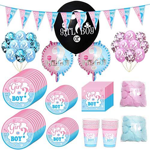 Baby Shower Deko Set,Riesen Luft-Ballons Boy or Girl,Konfetti und Luftballons,Mädchen oder Junge Banner ,Teller, Becher, Servietten, für 16 Personen. ()