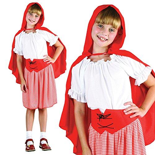 Mädchen 4 Stück Rotkäppchen Buch Tag Woche Märchen Halloween Kostüm Kleid Outfit 4-12 jahre - EU 140-152