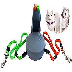 Einziehbarer Hunde Traktions Gurt, 2 10-Fuß-hundeseil, Hunde-Laufleine, Ein-klick-Trenn-und Schließsystem, Bequemer Grip, Robuster Nylon Gurt, Kann Traktion mit Zwei Hunden Sein, für Jeden Hund