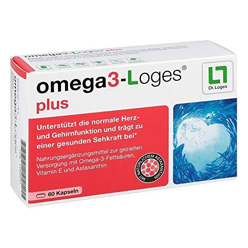 Omega3-Loges plus von Dr. Loges, 60 Kapseln (PZN 13360042) Omega-3-Fettsäuren EPA und DHA mit Astaxanthin - Bekömmlich, nachhaltig, schadstofffrei