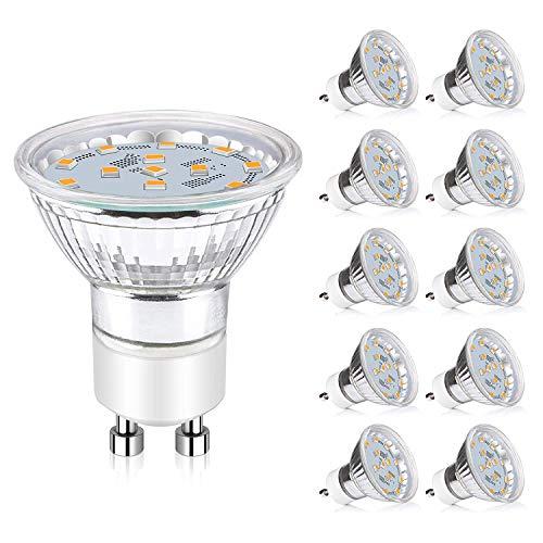 Reteck 10er Pack GU10 LED Lampe, Ersatz für 50W Halogenlampen,380LM, Warmweiß, 3.5W, Nicht Dimmbar,AC 220-240V, GU10 LED Birnen, LED Leuchtmittel