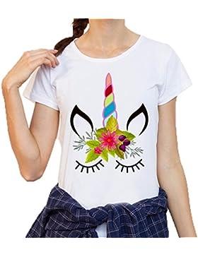 Camisas Mujer,Longra ★ Impresión de Unicornio Elástico Mujeres Casual Manga Larga Blusa Tops Camisa