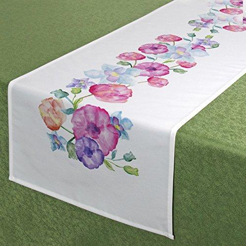 Tischläufer PASTELL BLUMEN / 40 x 140 cm / Moderner Tischläufer für den Sommer (Blumen Tischläufer)
