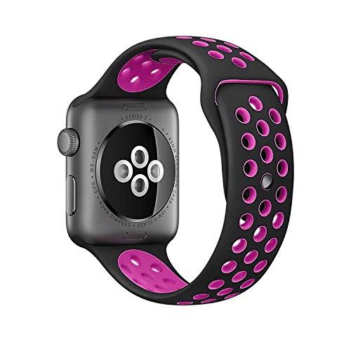 Nike + de banda Apple Watch 38mm/42mm de repuesto, liberación rápida Kobwa suave silicona deporte iwatch pulsera correa para Apple reloj serie 1y 2.