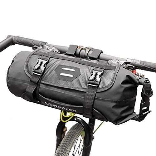 SHARESUN Fahrrad Lenkertasche, 100% wasserdichte Kapazität einstellbar 3-7L Mountainbike Kopftasche Rahmentasche Rennrad Falttasche Gepäcktasche, passend für jedes Modell, schwarz 3 Liter Modell