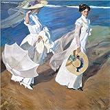 Póster 70 x 70 cm: Strolling along the Seashore de Joaquin Sorolla y Bastida - impresión artística de alta calidad, nuevo póster artístico