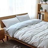 Kexinfan Bettbezug Cotton Stricken Baumwolle Vierteilige Bettdecke Bettbezug Baumwoll-Baumwolle Gestreift Bettwäsche, Bett Typ, Hellblaue Mitte, 1,5 M (5 Fuß) Bett