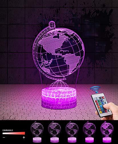 3D Globus Lampe LED Nachtlicht mit Fernbedienung, QiLiTd 7 Farben Wählbar Dimmbare Touch Schalter Nachtlampe Geburtstag Geschenk, Frohe Weihnachten Geschenke Für Mädchen Männer Frauen Kinder