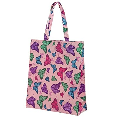Beautiful Pink Butterfly Design PVC Coated Shopping Bag