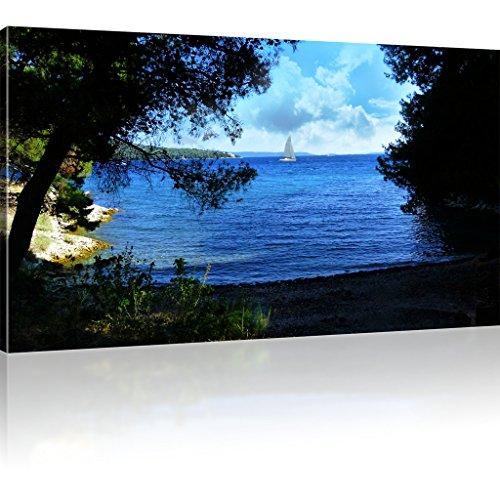 Buchtenküste Bild auf Leinwand Segelschiff Wandbild Besansegel Kunstdruck Ozean Landschaft