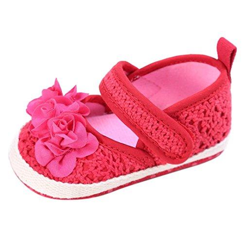 Koly_Neonato Scarpe Ragazze dei Capretti Fiori Vuoti Suola Infantile Delicatamente Shoes (Size 11, Hot Pink)