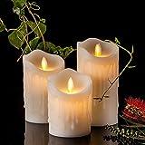 Air Zuker 3er LED Flammenlose Kerzen Tropfenförmige batteriebetriebene Kerzen Säule Echtwachskerzen mit Timer und 10 Tasten Fernbedienung, höhe 4