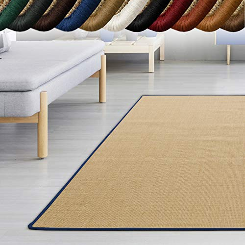 *casa pura Sisal Teppich myStyle | viele Größen | mit Umkettelung in Wunschfarbe | für modernes und individuelles Wohnen (blau umkettelt, 66×130 cm)*