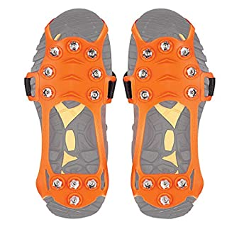 IGEMY_ Non-slip Snow Cleats For Boots Shoe Grips Cover Step Ice Spikes Grips Crampons Universal Slip-on Stretch fit Snow & Ice Spikes For Hiking (M, Orange)
