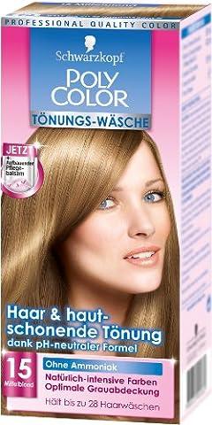 Schwarzkopf Poly Color Tönungs-Wäsche Stufe 3, 15 Mittelblond, 1er Pack (1 Stück)